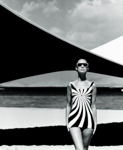 Op art swimsuit by Sinz Vouliagmeni. Brigitte Bauer. Greece 1966