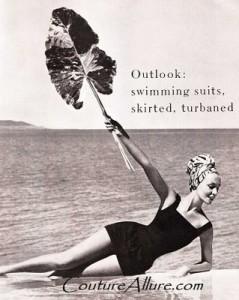 Swimwear by Hubert de Givenchy, turban by Adolfo