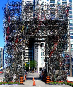 Bike tower in Toronto (made out of stolen bicycles)